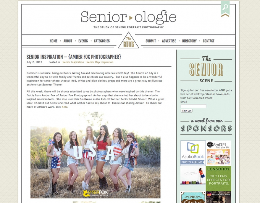 Amber Fox Photographer is featured on Seniorologie, Foxy Senior Models, Patriotic Concept Shoot